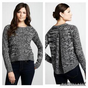 360 Cashmere Wool Marled Zebra Box Pleat Soft Sweater